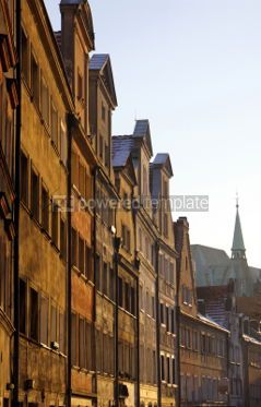 Architecture : Row of facades of old houses in historic center of Wroclaw Pola #04645
