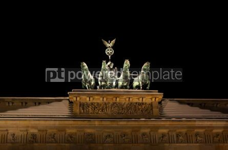 Architecture : Close up statues of Brandenburg Gate in night. Berlin Germany #04646