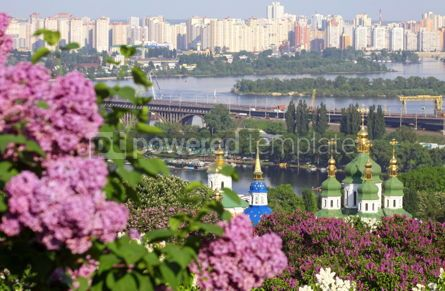 Nature: Kiev Botanical Garden in spring. View to the Vydubichi monastery #04672