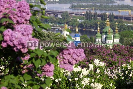 Nature: Kiev Botanical Garden in spring. View to the Vydubichi monastery #04673