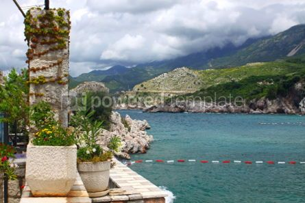 Nature: Summer view of Adriatic seacoast in Przno Montenegro  #04676