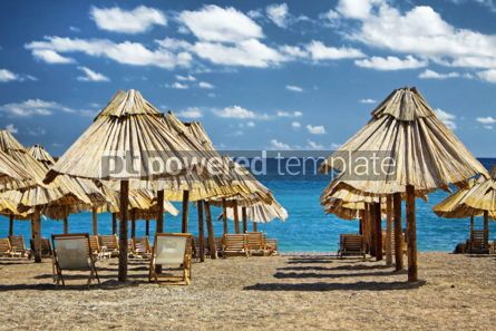 Nature: Summer beach with chairs and umbrellas in Montenegro #04680