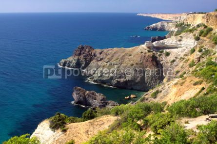 Nature: Summer view seacoast near Fiolent cape Black Sea Ukraine #04689