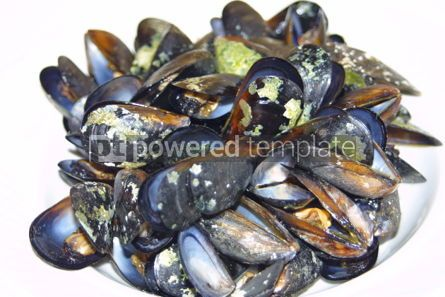 Food & Drink: Close-up opened boiled small mussels on a plate #04714
