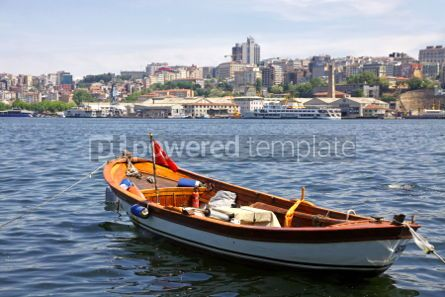 Transportation: Fishing boat on the Golden Horn Gulf with Istanbul downtown Tur #04744