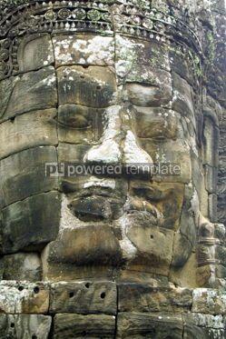 Architecture: Face of Bayon temple Angkor Cambodia  #04775