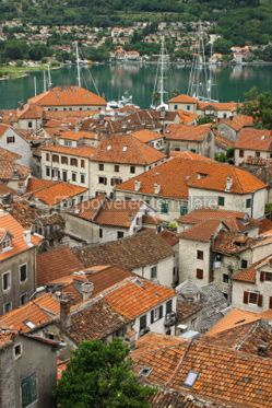 Architecture : Bird eye view of Kotor old town and Kotor Bay Montenegro #04777