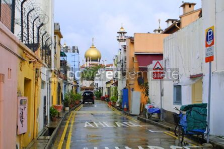 Architecture: Singapore city street with view to Sultan Mosque #04786