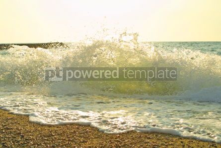 Nature: Sea beach with waves splashes and foam #04833