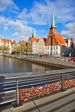 Architecture : Skyline of Lubeck old town Germany #04947