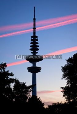 Architecture : Hamburg Television tower after sunset Germany #04956