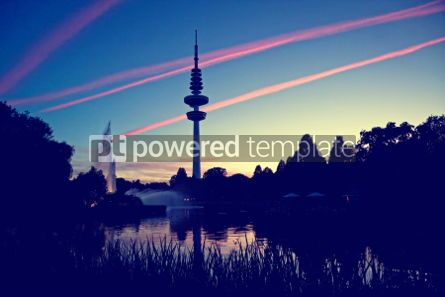 Architecture : Hamburg Television tower after sunset Germany #04957