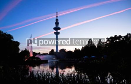Architecture : Hamburg Television tower after sunset Germany #04958