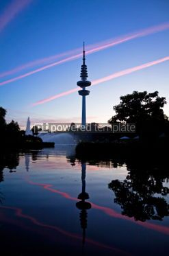 Architecture : Hamburg Television tower after sunset Germany #04959