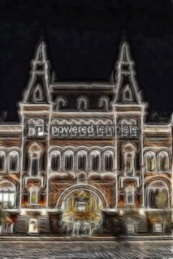 Abstract: Fractal image of night illuminated building #04977