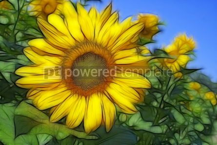 Abstract: Abstract fractal image with sunflowers and blue sky #04979