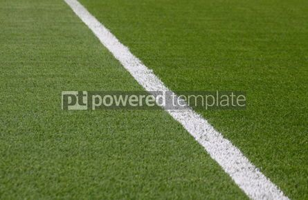 Sports : White stripe on the green soccer field #04985