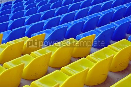 Sports : blue and yellow empty stadium seats #04999