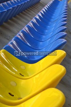 Sports : blue and yellow empty stadium seats #05002