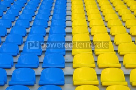 Sports : blue and yellow empty stadium seats #05003
