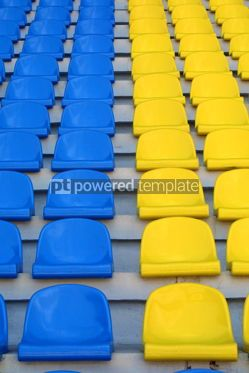 Sports : blue and yellow empty stadium seats #05004