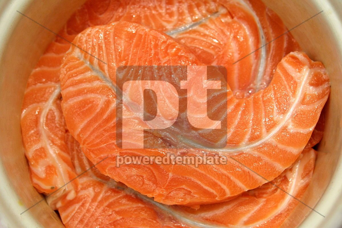 Close-up fresh slices of salmon fillet, 05015, Food & Drink — PoweredTemplate.com