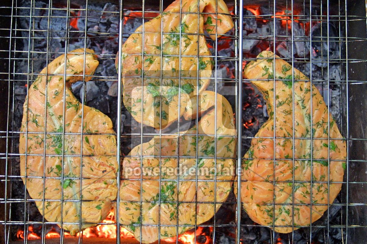 Salmon steaks cooking on a grill, 05017, Food & Drink — PoweredTemplate.com