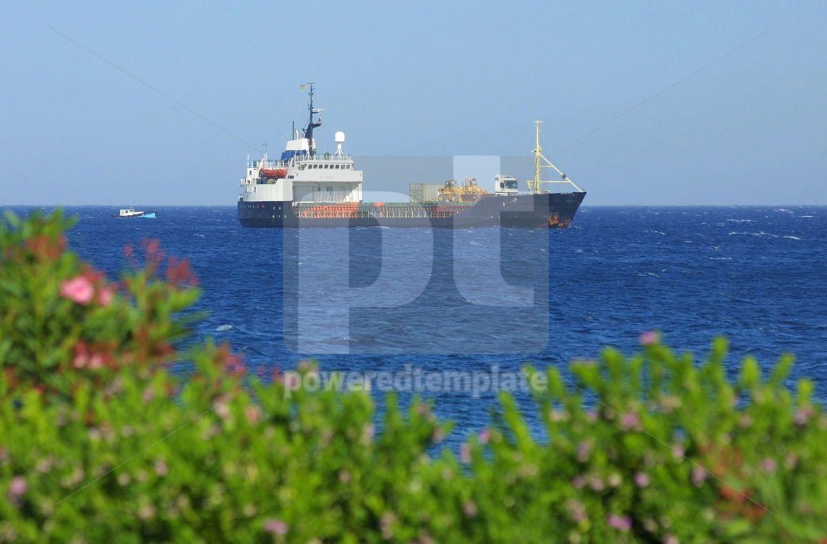 Ship in Mediterranean sea near Cyprus, 05023, Industrial — PoweredTemplate.com