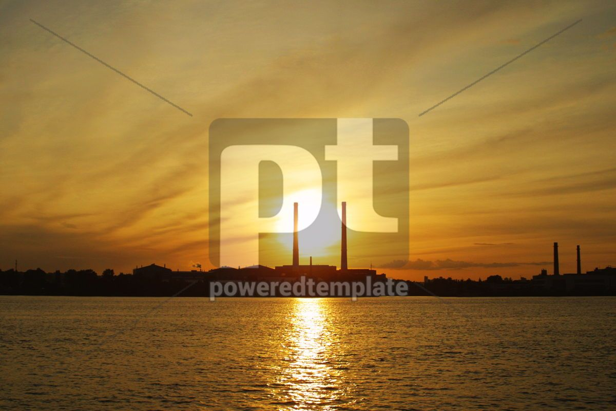 Sun setting behind power plant pipes, 05027, Industrial — PoweredTemplate.com