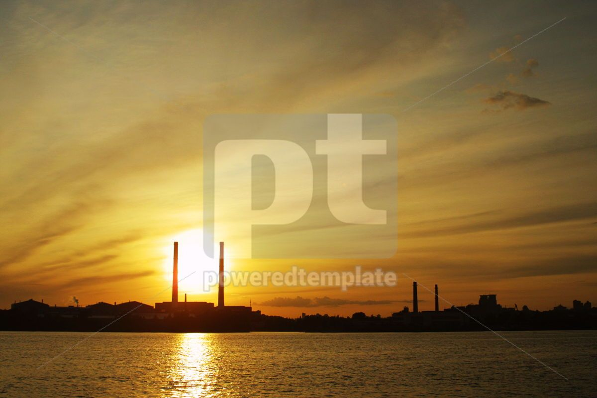 Sun setting behind power plant pipes, 05029, Industrial — PoweredTemplate.com