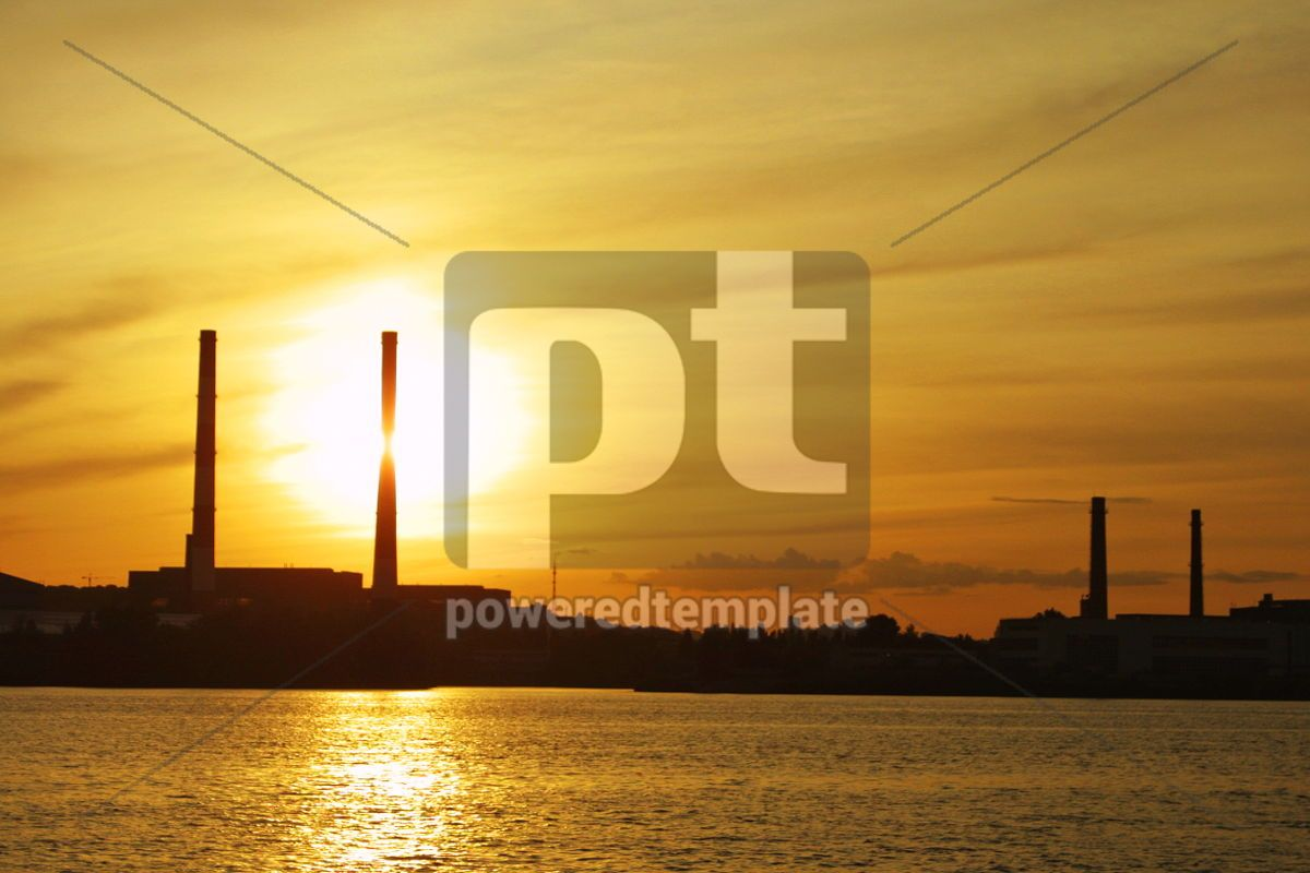 Sun setting behind power plant pipes, 05030, Industrial — PoweredTemplate.com