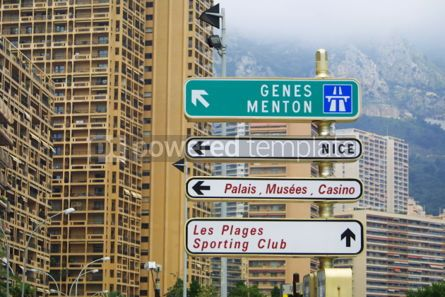 Transportation: Direction signs on a post in Monte Carlo #05033