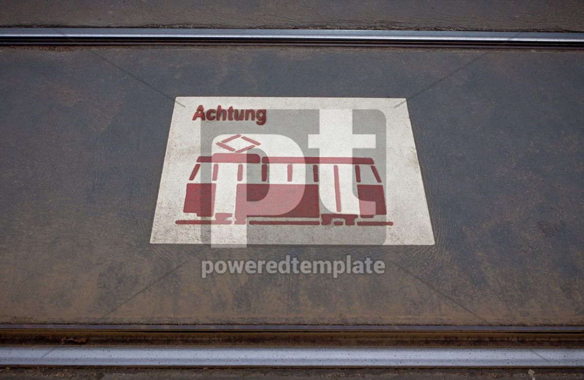 Tram sign on the road in Cologne, 05043, Transportation — PoweredTemplate.com