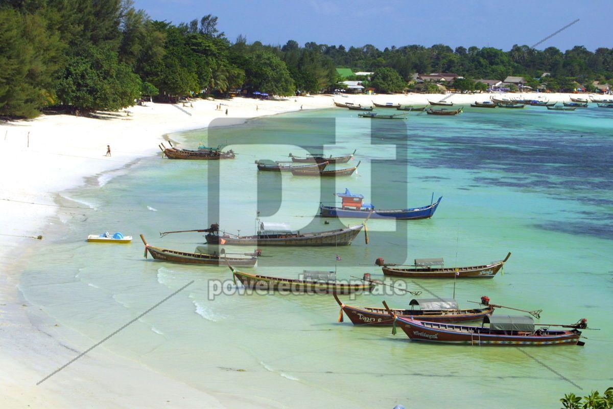 Fish boats on the Lipe Island in Andaman sea Thailand, 05045, Transportation — PoweredTemplate.com
