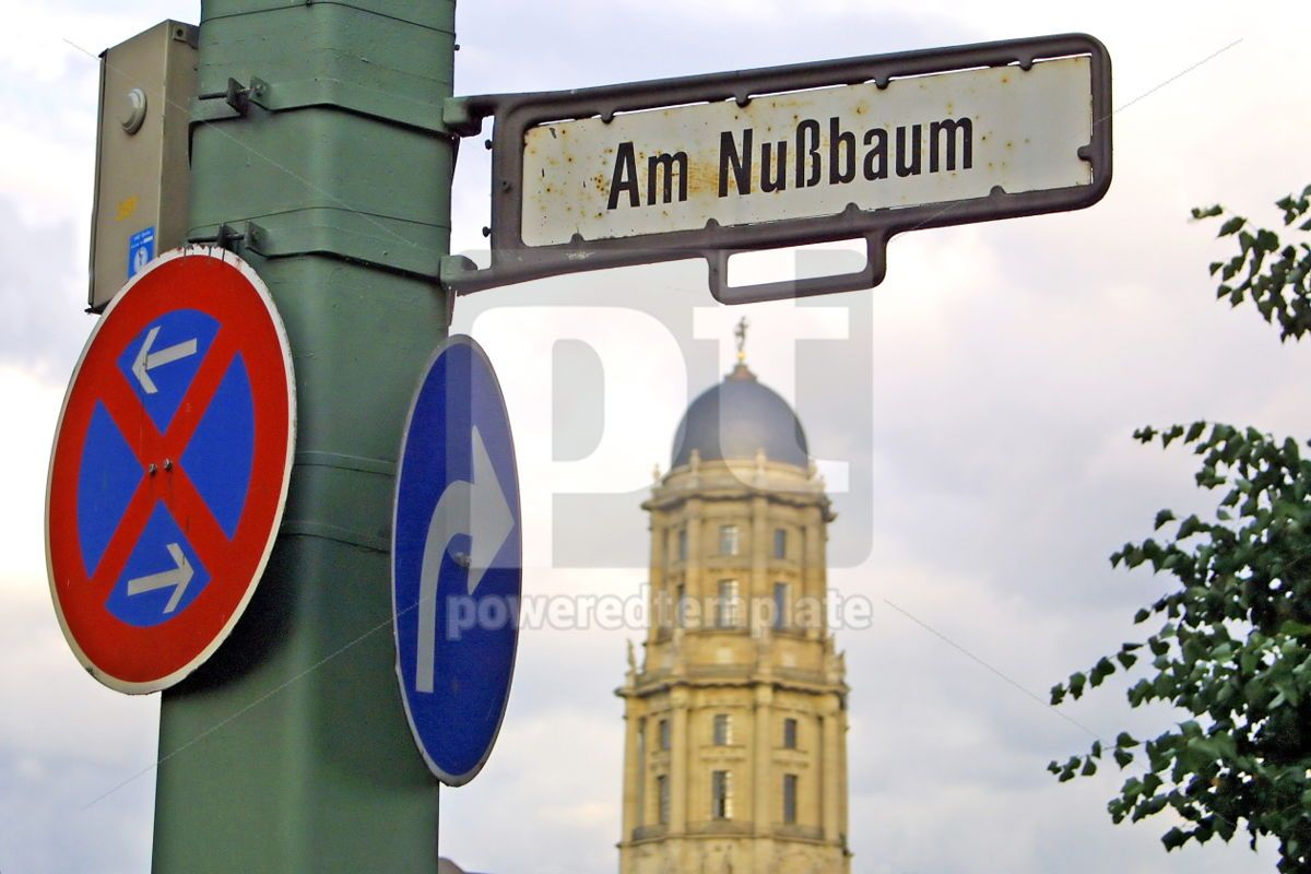 Road signs on a post in Berlin city Germany, 05046, Transportation — PoweredTemplate.com