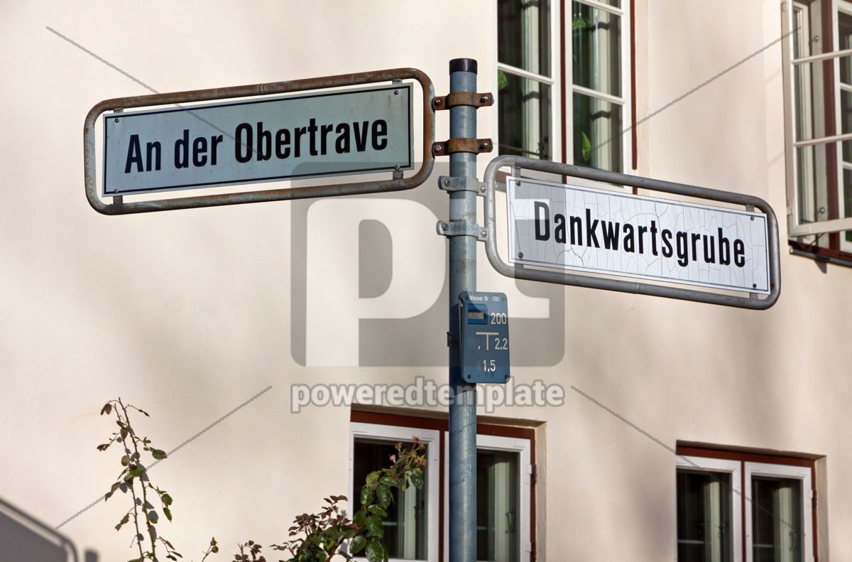 Street sign on a post in Lubeck Germany, 05053, Transportation — PoweredTemplate.com
