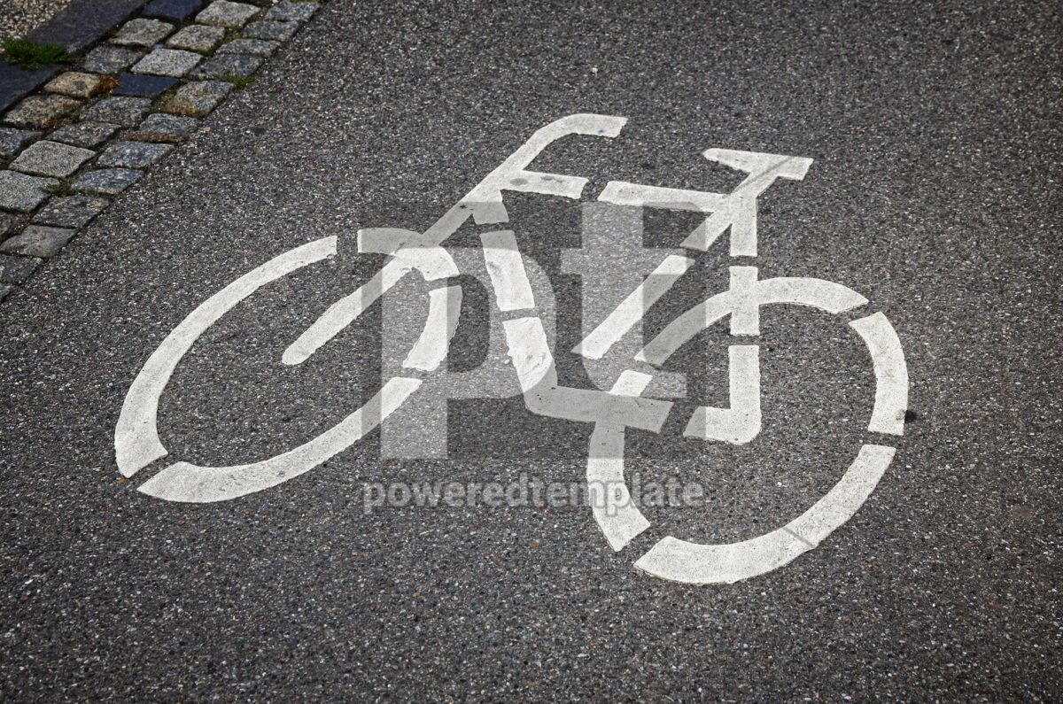 Bicycle sign on the road, 05059, Transportation — PoweredTemplate.com