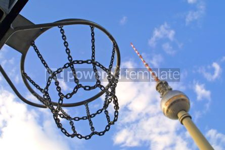 Architecture : Basketball basket with Berlin Television Tower on the background #05068