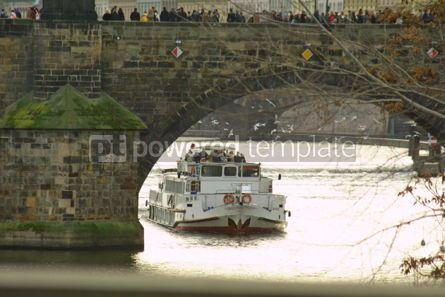 Architecture : Tourist boat under The Charles Bridge in Prague #05171