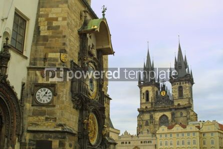 Architecture : View to the Old Town Hall and Tyn Cathedral in Prague #05174