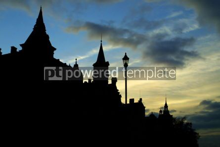 Architecture : Dark silhouette of old buildings in Karlovy Vary #05175