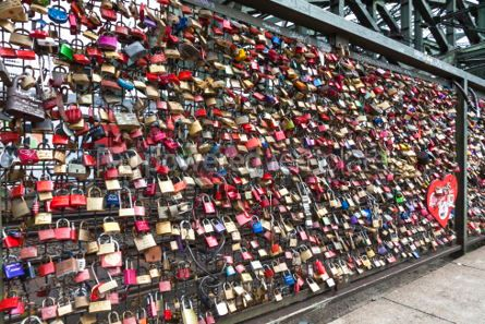 Architecture: Hohenzollern Bridge in Cologne with personal love padlocks #05191