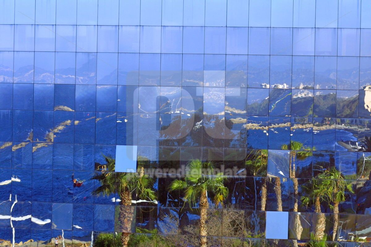 The reflection of city in glasses building, 05195, Architecture — PoweredTemplate.com