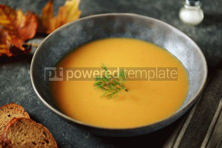 Food & Drink: Autumn cream soup made from organic vegetables - pumpkin sweet potato carrot and turnip. #05217