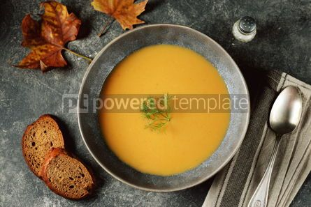 Food & Drink: Autumn cream soup made from organic vegetables - pumpkin sweet potato carrot and turnip. #05218