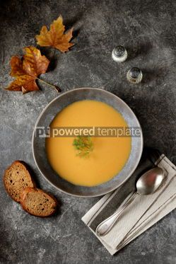 Food & Drink: Autumn cream soup made from organic vegetables - pumpkin sweet potato carrot and turnip. #05219