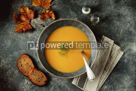Food & Drink: Autumn cream soup made from organic vegetables - pumpkin sweet potato carrot and turnip. #05221