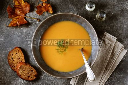 Food & Drink: Autumn cream soup made from organic vegetables - pumpkin sweet potato carrot and turnip. #05222