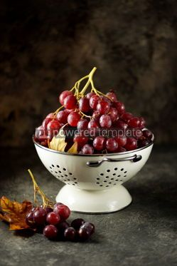 Food & Drink: Red grapes in a white colander on a gray background. #05226