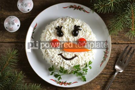 "Food & Drink: Traditional Russian New Year's salad ""Snowman"" on an old wooden background. #05239"